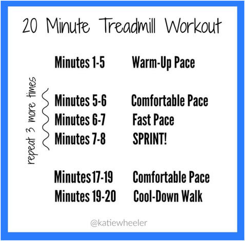 Find time to work out with this 20 minute treadmill routine.