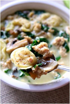 Tortellini soup with Parmesan, chicken sausage and mushrooms - one of the many other delicious soup recipes on the list.