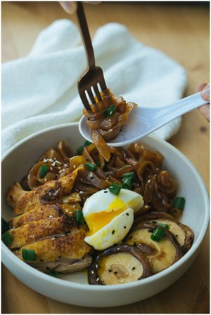 Chicken Satay: one low-carb noodle bowl option out of the many others included.