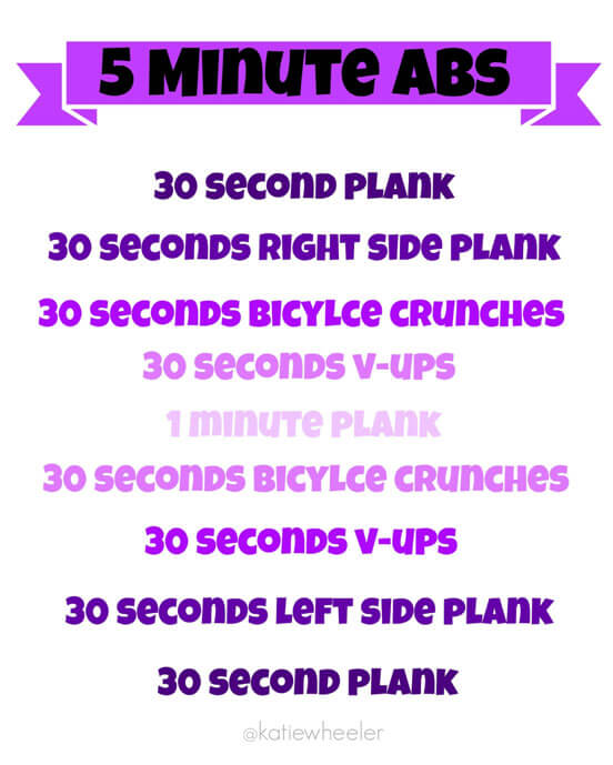 Here's a five minute ab workout you can squeeze in anytime.