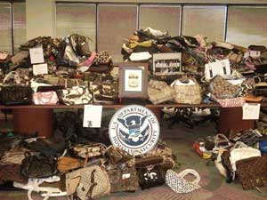 Knock-off purses seized by the U.S. Government